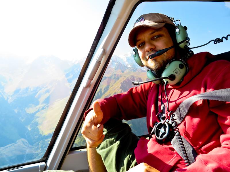 горный гид Андрей Гундарев, вертолетные прогулки над горами