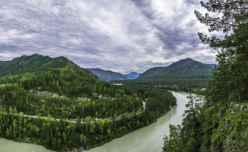 река Катунь в районе деревни Аскат, Горный Алтай