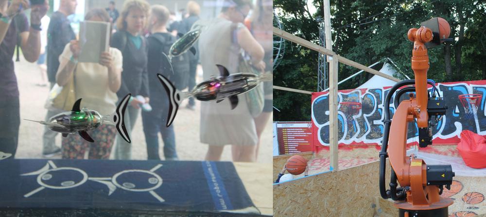 Рядышком несколько человек уставились в созерцательной релаксации на огромный аквариум, в котором плавают роборыбы. И глазам отдых, и кормить не надо. А малышня в это время соревнуется с роботом-волейболистом, закидывая мячи в кольцо. Пока счёт в пользу «электроника».