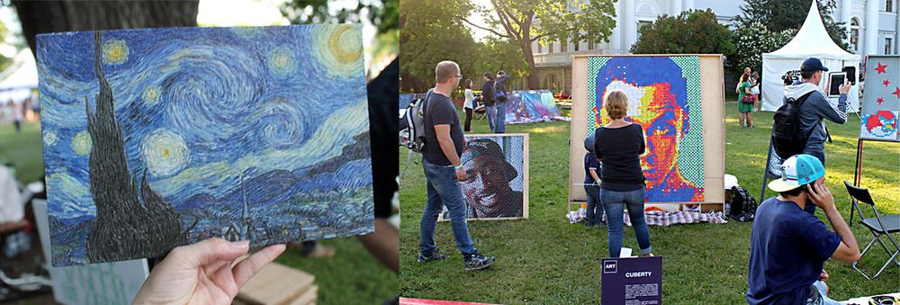 В зоне Art можно было полюбоваться на картины, напечатанные на 3D принтере и созданные из кубиков Рубика