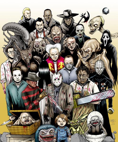 Герои фильмов ужасов класические монстры хоррор фильм ужасов ужасы страх classik monsters horror b movie best horror