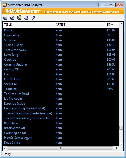 Единственное окно программы MixMeister BPM Analyzer