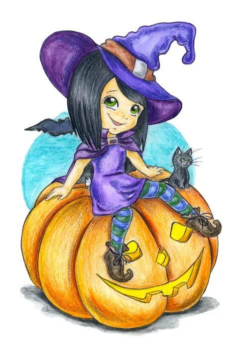 Как рисовать маленькую ведьму
